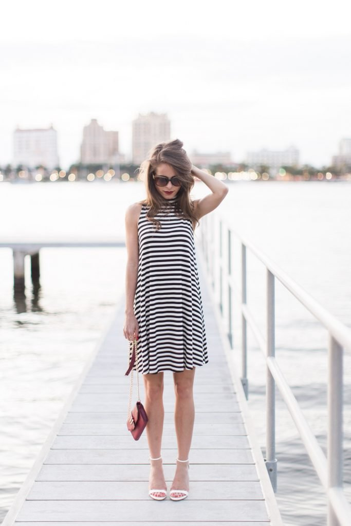 black and white striped dress 14