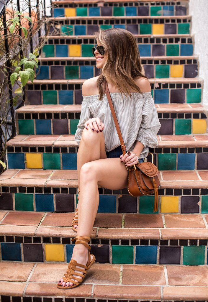 Blogger Wearing Foundrae Top and Rag and Bone Shorts