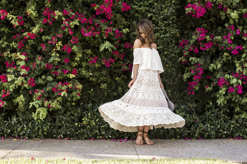 Blogger Wearing Lace Skirt